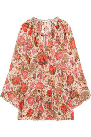 Viky beaded printed cotton-voile dress