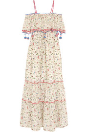 Violante printed crochet-trimmed cotton-voile maxi dress