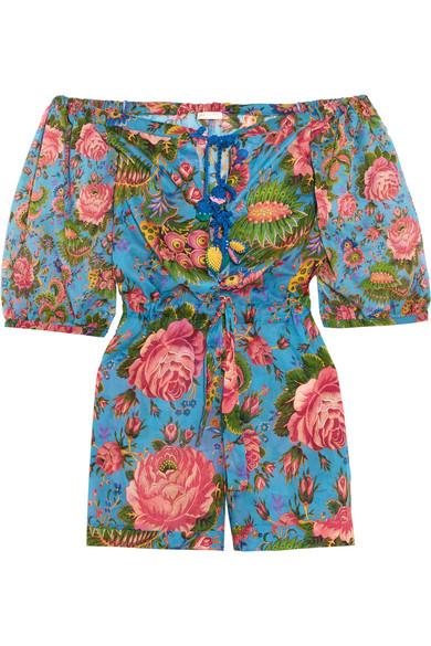Anjuna - Charlee Floral-print Cotton-voile Playsuit - Blue