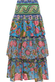 Candy tiered printed cotton-voile maxi skirt