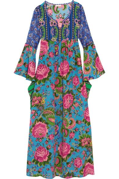 Anjuna - Cassiopea Chiffon-paneled Floral-print Silk Crepe De Chine Maxi Dress - Azure