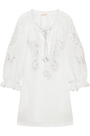 Emily embroidered cotton-gauze mini dress