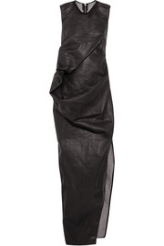 Draped waxed-cotton maxi dress