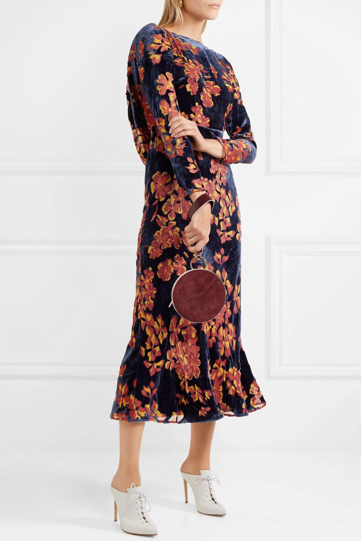 Saloni Tina open-back printed devoré-velvet midi dress
