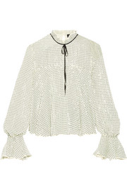 Tyler tie-neck sequined tulle blouse