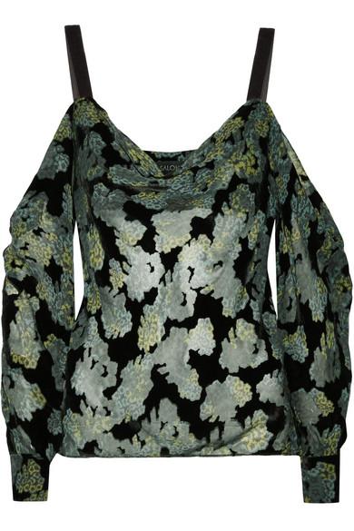 Saloni - Becky Cold-shoulder Printed Devoré-velvet Top - Black