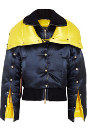 Versace Wool-paneled two-tone quilted shell down jacket