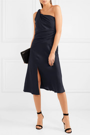 Versace One-shoulder gathered satin and crepe midi dress