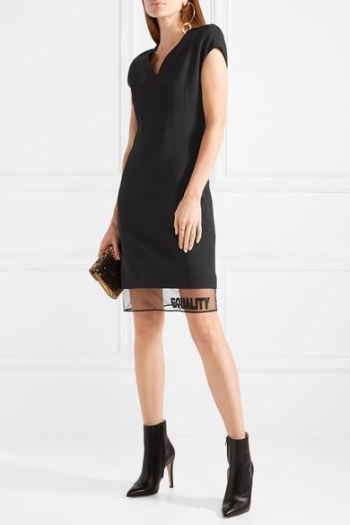 Versace Minikleid aus einer Wollmischung mit Applikationen und Tüllbesatz