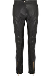 Paneled leather slim-leg pants