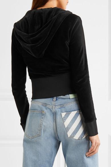 Versace Verkürzte Kapuzenjacke aus Velours