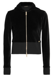 Versace Cropped velour hooded jacket