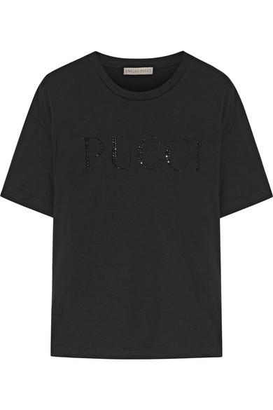 Emilio Pucci Kristallverziertes T-Shirt aus Baumwoll-Jersey Marktfähig Verkauf Vermarktbare Neueste Erstaunlicher Preis Vj8OQ