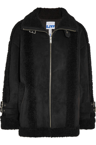 SJYP - Mustang Buckled Faux Shearling Jacket - Black