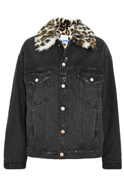 Faux fur-trimmed distressed denim jacket