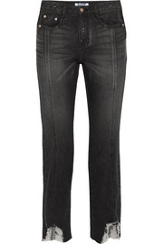 Hoch sitzende Jeans mit geradem Bein in Distressed-Optik