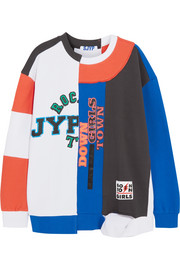 SJYP Patchwork printed cotton-terry sweatshirt