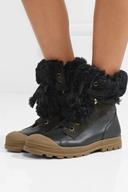 Chloé Parker shearling-trimmed suede and leather ankle boots