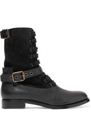 Otto shearling-lined suede and leather boots