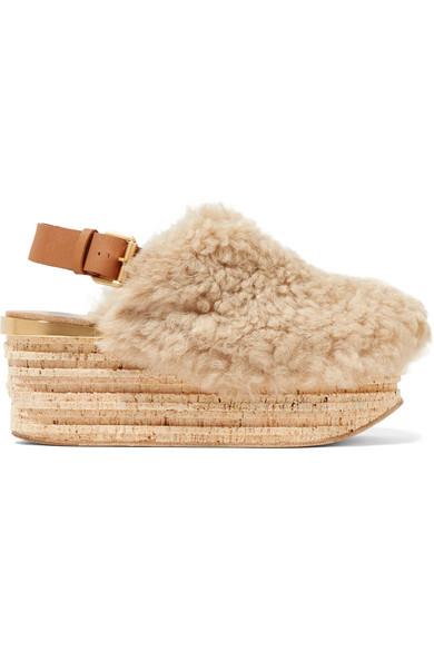 Camille platform shearling sandals Chloé KwXnL