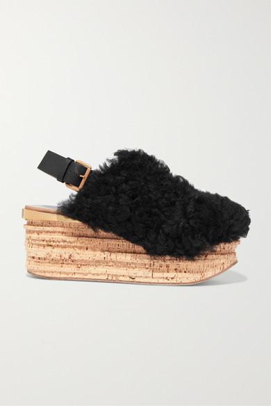 Camille Leather-trimmed Shearling Platform Slingback Sandals - Black Chlo TpOXel