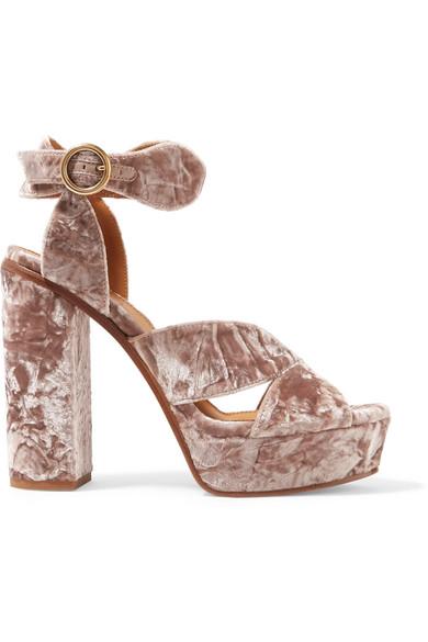 Chloe Graphic Leaves Velvet Sandals, Tan Rose