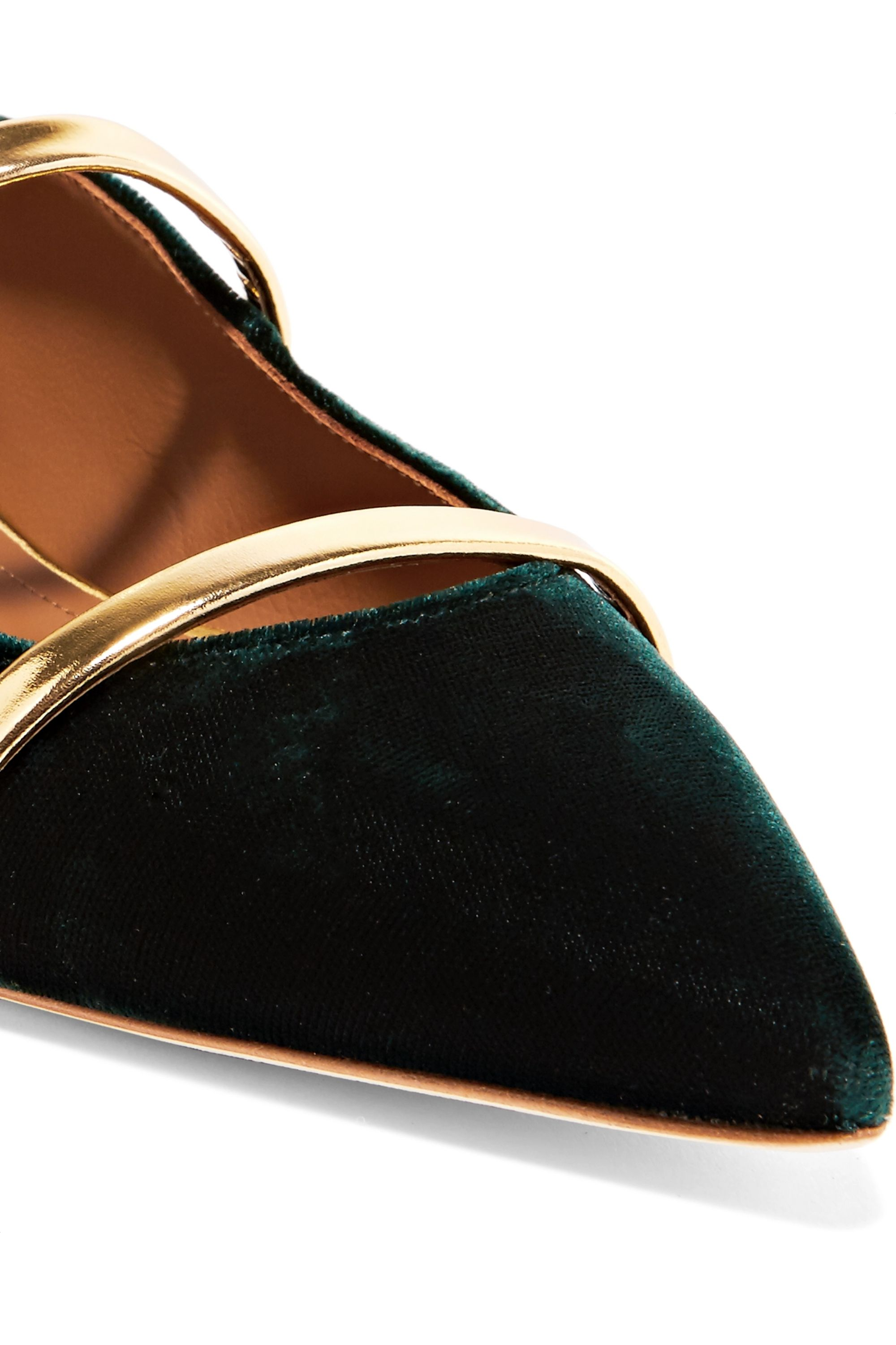 Malone Souliers Robyn metallic leather-trimmed velvet point-toe flats