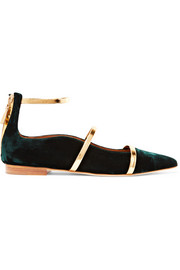 Robyn metallic leather-trimmed velvet point-toe flats
