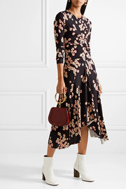 Diana asymmetric floral-print stretch-crepe dress