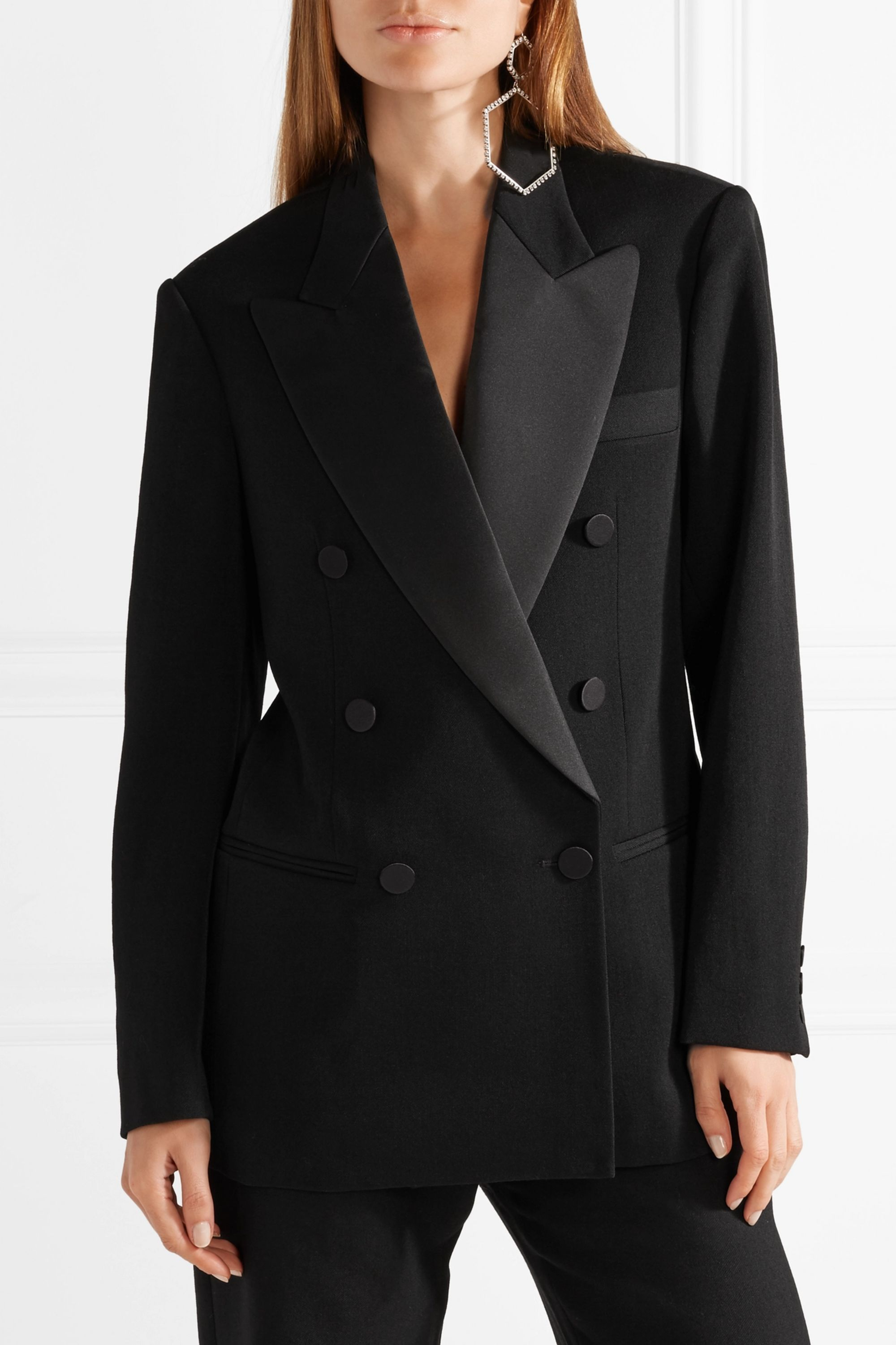Isabel Marant Oversized satin-trimmed wool-twill blazer