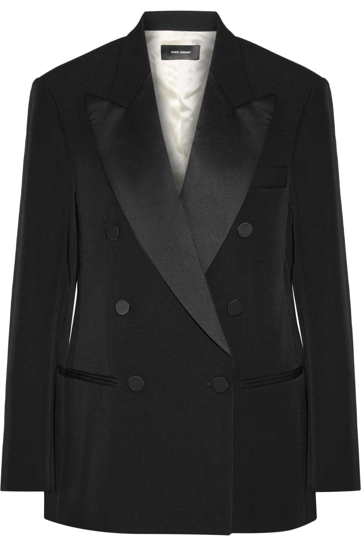 Isabel Marant Oversized satin-trimmed wool-twill blazer