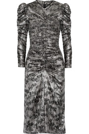 Isabel Marant Damia ruched printed silk-blend lamé midi dress