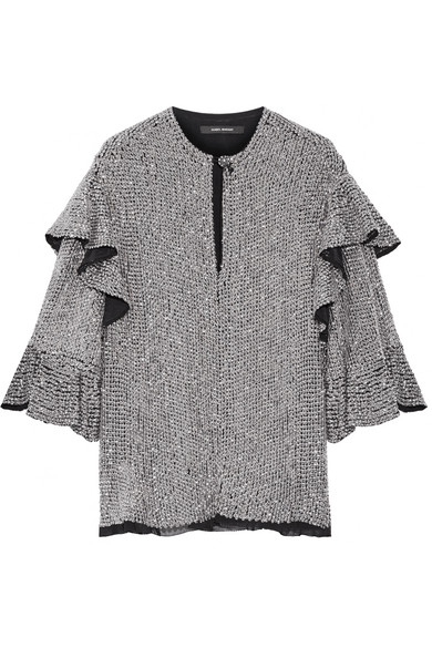 Isabel Marant - Basile Ruffled Sequined Tulle Top - Silver