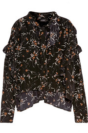 Sibel ruffled floral-print silk blouse