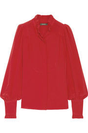 Sloan ruffled silk crepe de chine blouse