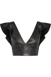 Isabel Marant Glenside cropped ruffled leather top