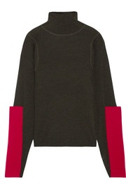 Paneled waffle-knit merino wool turtleneck sweater