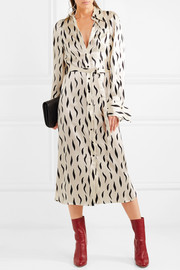Cassidy printed silk-satin midi shirt dress