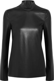 Joseph Vienna faux leather turtleneck top