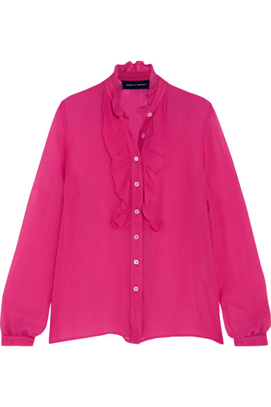 Vanessa Seward - Rose Ruffled Silk Blouse - Pink