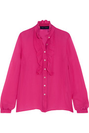 Rose ruffled silk blouse