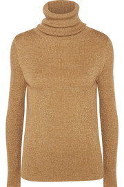 Etoile metallic ribbed wool-blend turtleneck sweater