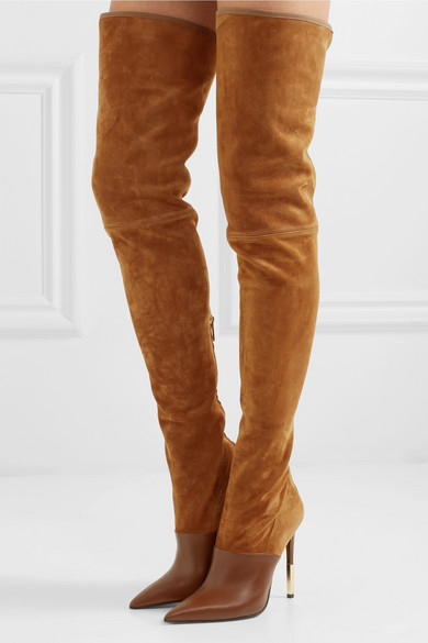 8fd63f58cdf19 Balmain | Amazon suede and leather over-the-knee boots | NET-A ...