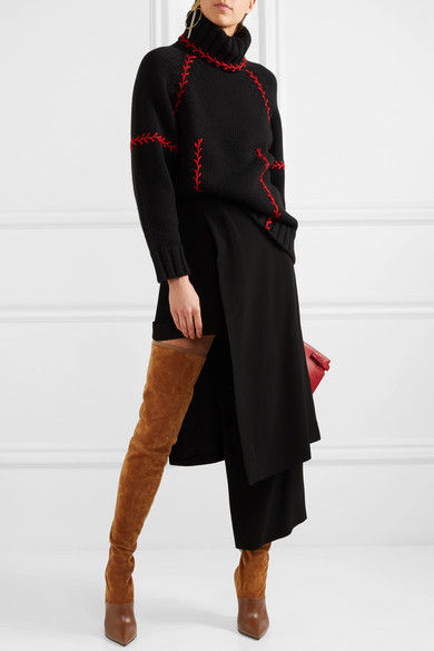 b23761a214019 Balmain | Amazon suede and leather over-the-knee boots | NET-A ...