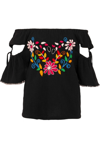 Sensi Studio Embroidered Crinkled-cotton Top - Black GZZOygky
