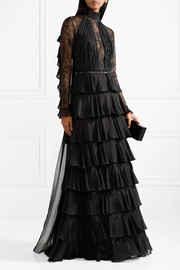 Tiered ruffle-trimmed lace and chiffon gown
