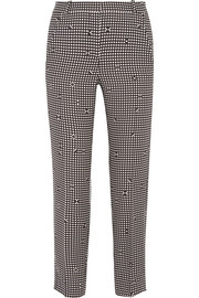 Checked crepe slim-leg pants