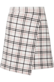 Carven Asymmetric plaid wool-blend mini skirt