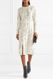 Carven Pintucked printed crepe midi dress