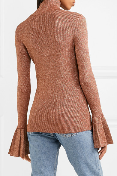 Carven | Metallic ribbed-knit turtleneck sweater | NET-A-PORTER.COM